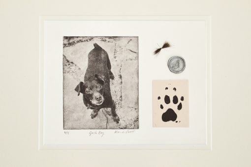 Pet art memorial art with ashes, paw print, fur, dogtag - dog remembrance