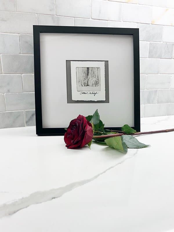 pet art in frame with rose