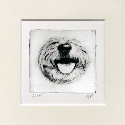 Terrier dog art of cute smiling face by Greyboy Pet Prints in CA