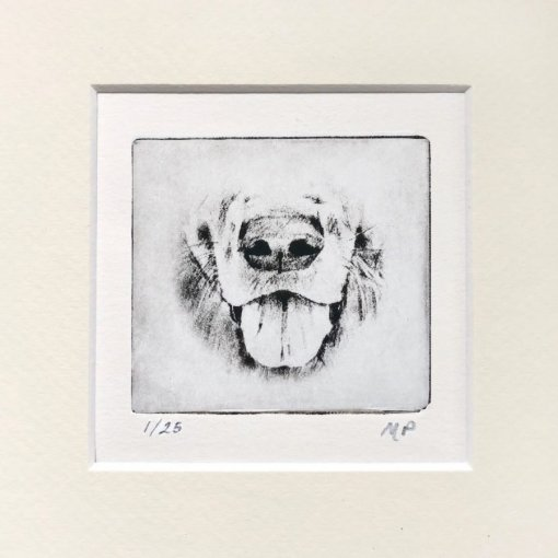 Dog Art Retriever etched as small gift