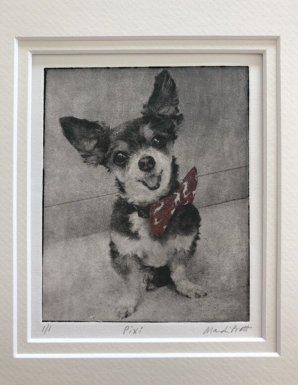 matted handmade pet art of cute chihuahua for sympathy gift for pet loss