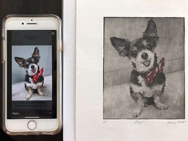 phone photo to handmade pet portrait etching for sympathy gift
