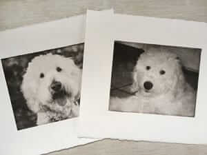 Two Handcrafted dog prints of cute dog doodle face
