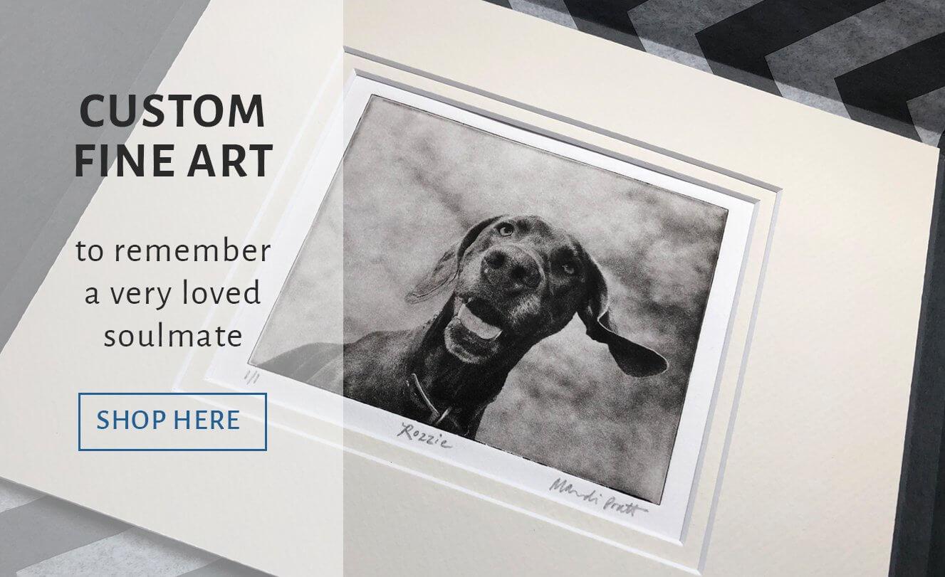 Custom Pet Portrait of Dog in Art Package