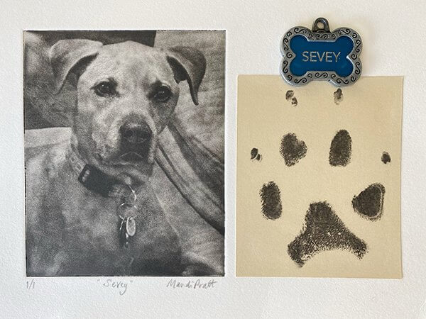 Dog-Paw-Print-Art-Memorial with etched photo and dog tag