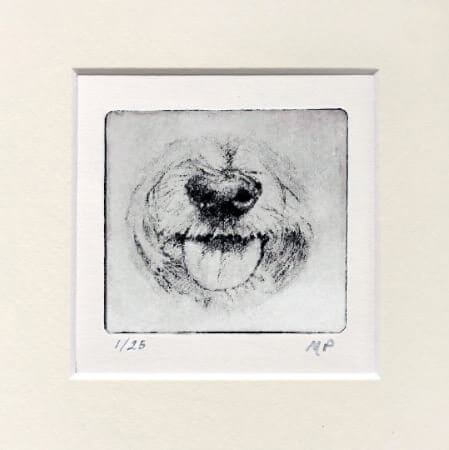 Cute Yorkie or Westie Portrait Dog Nose Print in mat