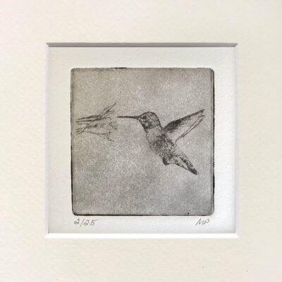 Hummingbird-Art with flower etched drawing