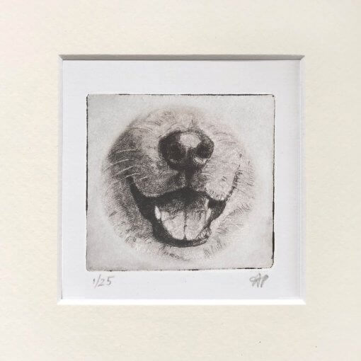 Husky dog art drawing etched of mouth and nose