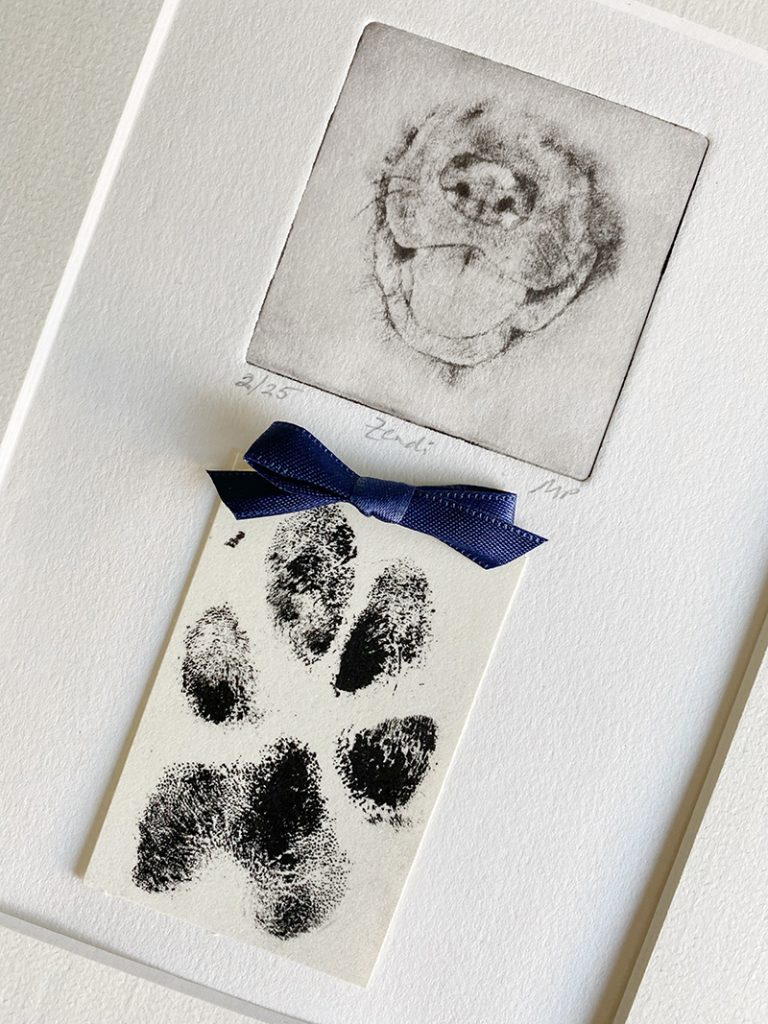 one of a kind dog portrait with paw print