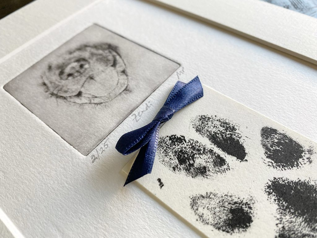 one of a kind pet portrait with dog nose and paw print
