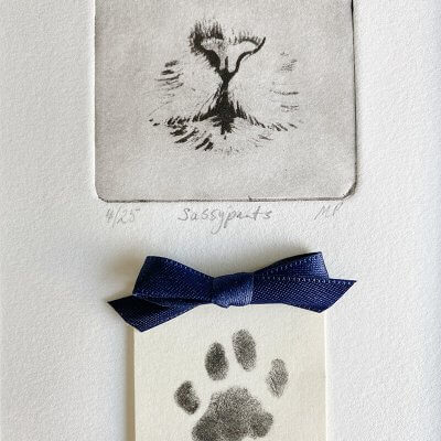 one of a kind of pet portrait with cat nose and cat paw print
