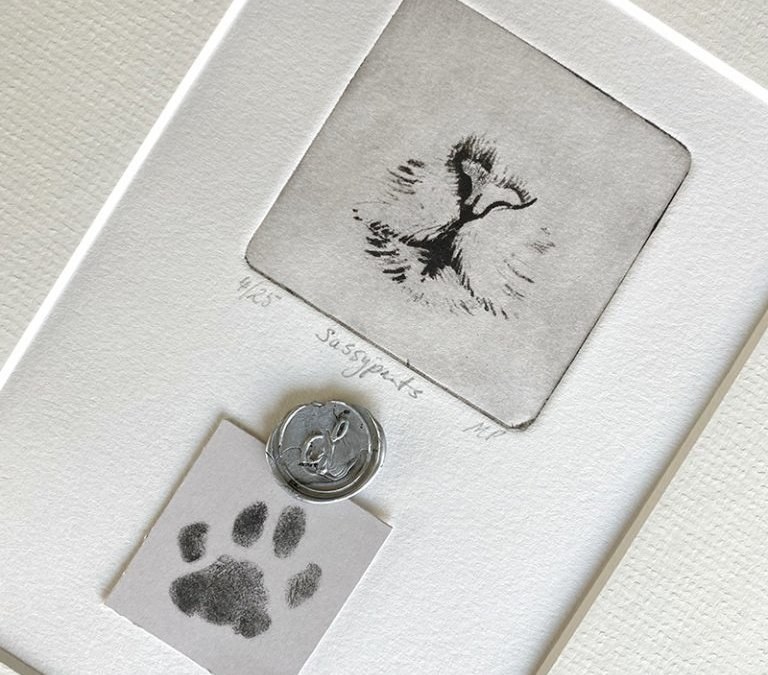 One of a Kind Pet Portrait With Paw Prints